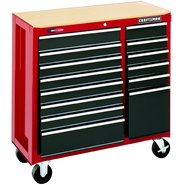 "Craftsman 40"" Wide 14-Drawer Quiet Glide™  Tool Cart - Red/Black at Craftsman.com"