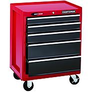"Craftsman 26"" Wide 5-Drawer Quiet Glide™  Bottom Chest - Red/Black at Craftsman.com"