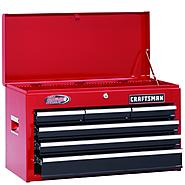 "Craftsman 26"" Wide 6-Drawer Ball-Bearing Top Chest - Red/Black at Craftsman.com"