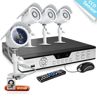 Zmodo 4CH H.264 Video Surveillance System with 500GB Hard Drive &amp; 4 CCD Security Cameras at Sears.com
