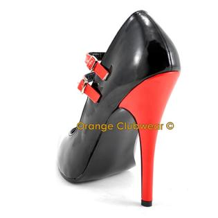 Pleaser Domina-442 Womens Red And Black Dual Strap Mary Jane Style 6 Inch Stiletto Contrast High Heels Sexy Pumps Shoes at Sears.com