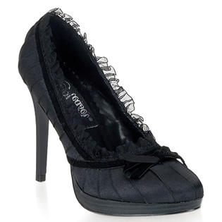 Pleaser Bliss-38 Sexy Black Satin Pumps High Heels Shoes at Sears.com