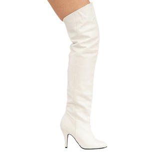 Pleaser Legend-8868 Womens White Leather Pirate Renaissance Medieval Thigh High 4 Inch High Heel Boots at Sears.com