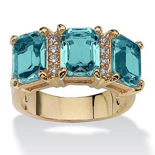 Palm Beach Jewelry 14k Gold-Plated Emerald-Cut Birthstone and Round  Cubic Zirconia Ring at Sears.com