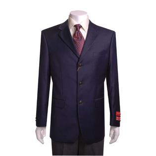 SuitUSA NEW MENS 3 BUTTON SOLID NAVY BLUE WOOL BLAZER at Sears.com