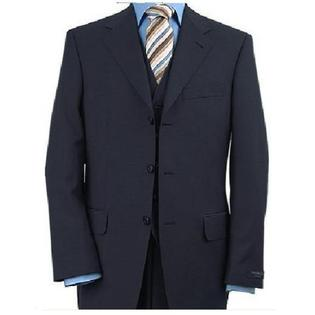 SuitUSA NEW MENS 3 PC 3 BUTTON NAVY BLUE S150 WOOL SUIT at Sears.com
