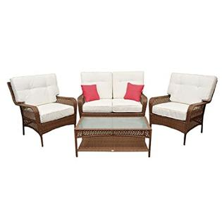 HomCom Deluxe Outdoor PE Wicker Rattan 4 pc Love Seat / Chair Patio Furniture Set at Sears.com