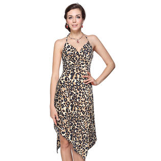 Ever-Pretty Ever Pretty Halter High Low Sexy V-neck Animal Printed Cocktail Dress 03682 at Sears.com