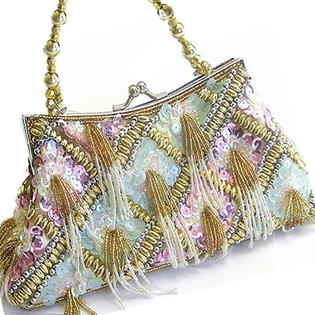 Jazzy Jewels Pastel Beaded Evening Bag with Tassels at Sears.com