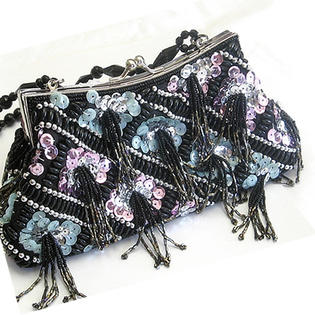 Jazzy Jewels Black Beaded Evening Bag with Tassels at Sears.com