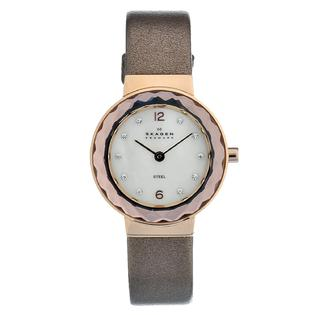 Eziba Collection Skagen Women&#039;s Rose-gold Steel Crystal Leather Strap Watch at Sears.com
