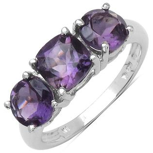 Eziba Collection Malaika Sterling Silver Amethyst 3-stone Ring (2 4/5ct TGW) at Sears.com