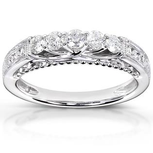 Eziba Collection 14k White Gold 1/2ct TDW Round-cut Diamond Band (H-I, I1-I2) at mygofer.com