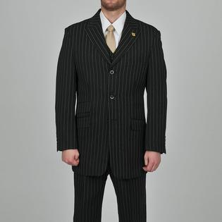 Overstock.com Stacy Adams Men&#039;s 3-button Black Striped Suit at Sears.com