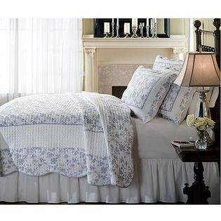 AT HOME by O Jouy Toile Blue Woven Cotton 3-Piece Quilt Set at Sears.com