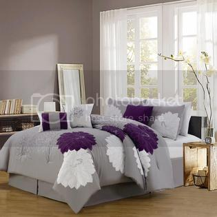 Grand Bedding Providence Floral Purple Gray Embroidered 7pc Comforter Set at Sears.com