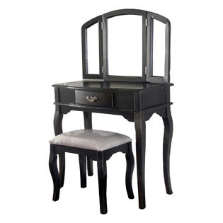 Tagway Home Queen Anne Style Makeup Vanity Set Espresso Finish with Dressing Table, Stool and Mirror at Sears.com