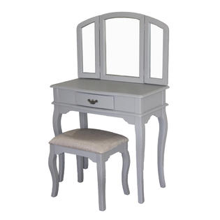 Tagway Home Queen Anne Style Makeup Vanity Set Gray Finish with Dressing Table, Stool and Mirror at Sears.com