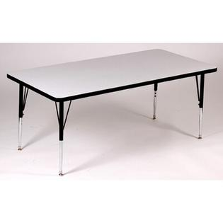 Correll, Inc. Rectangle Activity Table with Grey Granite Top - Leg: Short Leg, Size: 24&amp;#34; W x 48&amp;#34; D, Color: Black at Sears.com