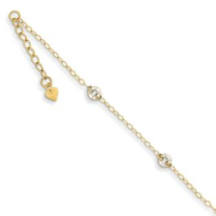 Jewelryweb 14k Two-tone Oval Chain With Wavy Circles With 1in Ext Anklet - 9 Inch at Sears.com