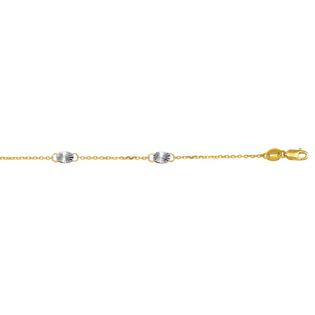 Jewelryweb 14k Gold Two-tone Diamond-cut Anklet - 10 Inch at Sears.com