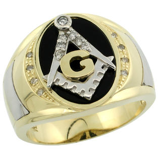 Sabrina Silver 10k Gold Men&amp;#34;s Rhodium Accented Masonic Oval Diamond Ring w/ Black Onyx Stone &amp; 0.152 Carat Brilliant Cut Diamonds, 5/8 in. (16m at Sears.com