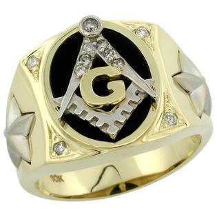 Sabrina Silver 10k Gold Men&amp;#34;s Rhodium Accented Masonic Oval Diamond Ring w/ Black Onyx Stone &amp; 0.119 Carat Brilliant Cut Diamonds, 5/8 in. (16m at Sears.com