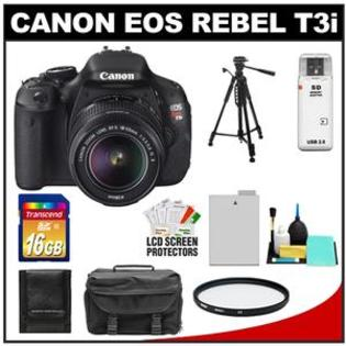 Canon EOS Rebel T3i Camera Body + EF-S 18-55 IS II Lens + 16GB Card + Battery + Case + Filter + Tripod + Cleaning + Acc Kit at Sears.com