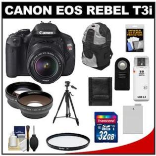 Canon EOS Rebel T3i Camera + EF-S 18-55 IS II Lens + 32GB + Tripod + Case + Battery + Remote + Filter + Telephoto/Wide-Angle Lens Kit at Sears.com