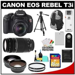 Canon EOS Rebel T3i Camera + EF-S 18-55 IS II Lens + 75-300 Lens + 16GB Card + Tripod + Case +Filter + Telephoto/Wide-Angle Lens Kit at Sears.com