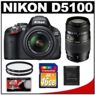 Nikon D5100 Camera + 18-55 G VR DX AF-S Lens - Factory Refurbished + Tamron 70-300 Di Lens + 16GB Card + 2 Filters + Acc Kit at Sears.com