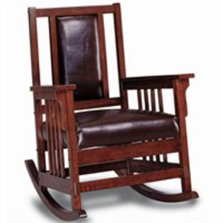 Coaster Mission Style Wood Rocker with Leather Match Seat and Back at Sears.com