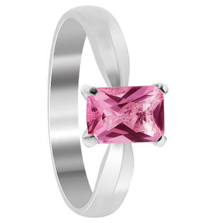 Gem Avenue BDRS014 Sterling Silver Band Emerald Cut Pink Cubic Zirconia Ring Size 10 to 5 at Sears.com