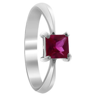 Gem Avenue BDRS022 Sterling Silver Princess Cut Ruby CZ Solitaire Promise Ring Size 5 to 10 at Sears.com