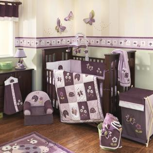 Lambs &amp; Ivy Lambs and Ivy Luv Bugs 4 Piece Baby Crib bedding Set, Plum at Sears.com