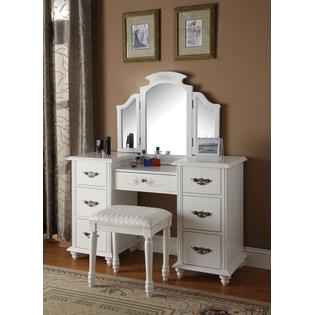 Acme Torian 3 pc white finish wood make up dressing table vanity set with stool and tri-fold mirror at Sears.com