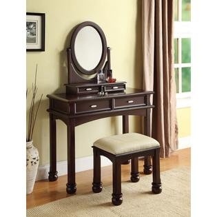 Acme Amherst 3 pc espresso finish wood make up dressing table vanity set with stool and oval mirror at Sears.com