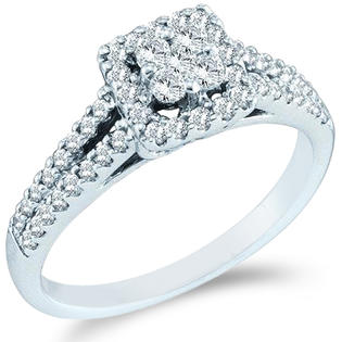 Showman Jewels 14k White Gold Diamond Engagement Invisible Set Halo Round Brilliant Cut Diamond Ring 6mm (1/2 cttw) at Sears.com