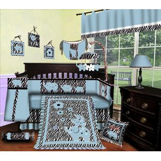 SISI Custom Baby Boy Boutique - Blue Zebra 15 Pc Baby Bedding Nursery Crib Set at Sears.com