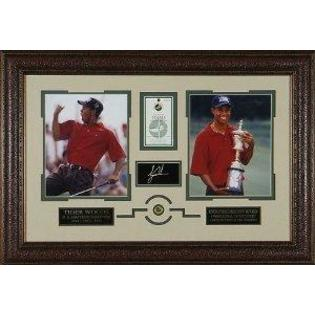 Sports Memorabilia Tiger Woods unsigned 21x31 Custom Leather Framed 2 Photo Engraved Signature US Open/ Scorecard &amp; Pin at Sears.com
