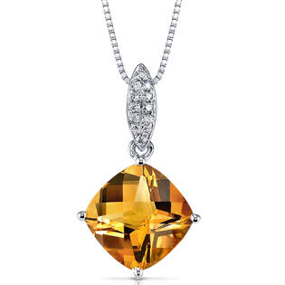 peora 14 Karat White Gold Cushion Cut 2.5 Carat Citrine and 0.06 Carat Diamond Pendant at Sears.com