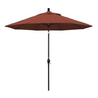 California Umbrella GSPT908302-F69 9 ft. Aluminum Market Umbrella Push Tilt - M Black-Olefin-Terracotta at Sears.com