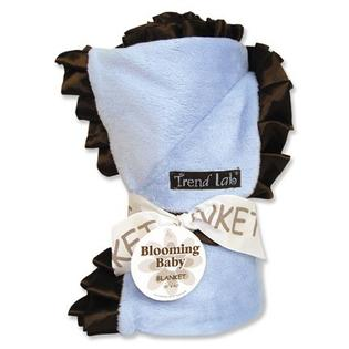 Trend Lab 102146 Receiving Blanket- 278C Blue Velour with  476C Brown Satin Ruffle Trim at Sears.com