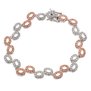 CZ Collections CZ BR1539-1 C.Z. And Rose Gold Plated Oval Link Bubble - .925 - Sterling Silver Bracelet at Sears.com
