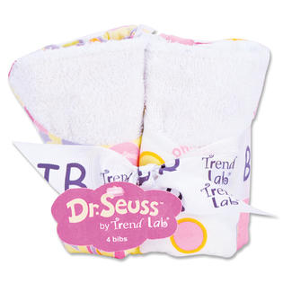 Trend Lab 30360 Bouquet 4 Pack Bib - Dr. Seuss Pink Oh The Places You&amp;&#039;Ll Go at Sears.com
