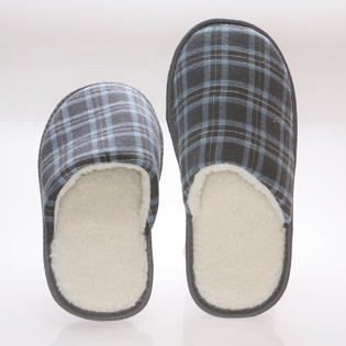 Deluxe Comfort Men&#039;s Memory foam House slippers - Blue Checkered cotton - wool fleece lining 9-10 at Sears.com