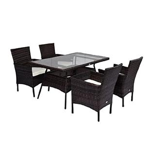 HomCom Outdoor Patio PE Rattan Wicker 5 pc Dining Furniture Set - 4 Chairs w/ Table at Sears.com