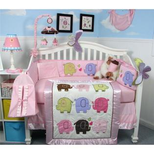 Soho Designs SoHo Elephant Flutter Baby Crib Nursery Bedding Set 14 pcs included Diaper Bag with Changing Pad, Accessory Case &amp; Bottle Case at Sears.com