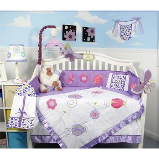 Soho Designs Lavender Little Lady Baby Crib Nursery Bedding Set 14 pcs included Diaper Bag with Changing Pad, Accessory Case &amp; Bottle Case at Sears.com