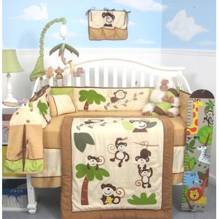 Soho Designs Curious Monkey Baby Crib Nursery Bedding Set 14 pcs included Diaper Bag with Changing Pad, Accessory Case &amp; Bottle Case at Sears.com